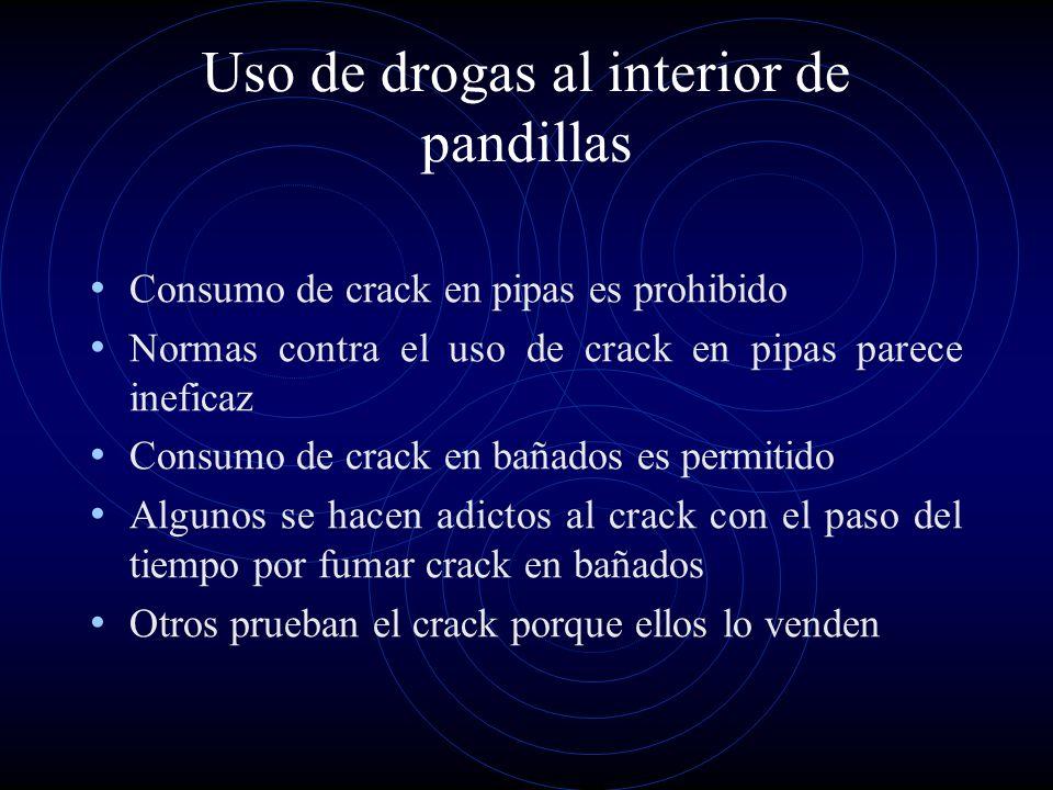 Uso de drogas al interior de pandillas Consumo de crack en pipas es prohibido Normas contra el uso de crack en pipas parece ineficaz Consumo de crack