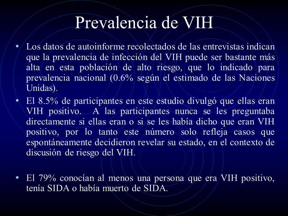 Prevalencia de VIH Los datos de autoinforme recolectados de las entrevistas indican que la prevalencia de infección del VIH puede ser bastante más alt