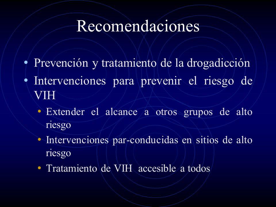 Recomendaciones Prevención y tratamiento de la drogadicción Intervenciones para prevenir el riesgo de VIH Extender el alcance a otros grupos de alto r