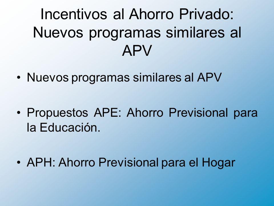 Incentivos al Ahorro Privado: Nuevos programas similares al APV Nuevos programas similares al APV Propuestos APE: Ahorro Previsional para la Educación.
