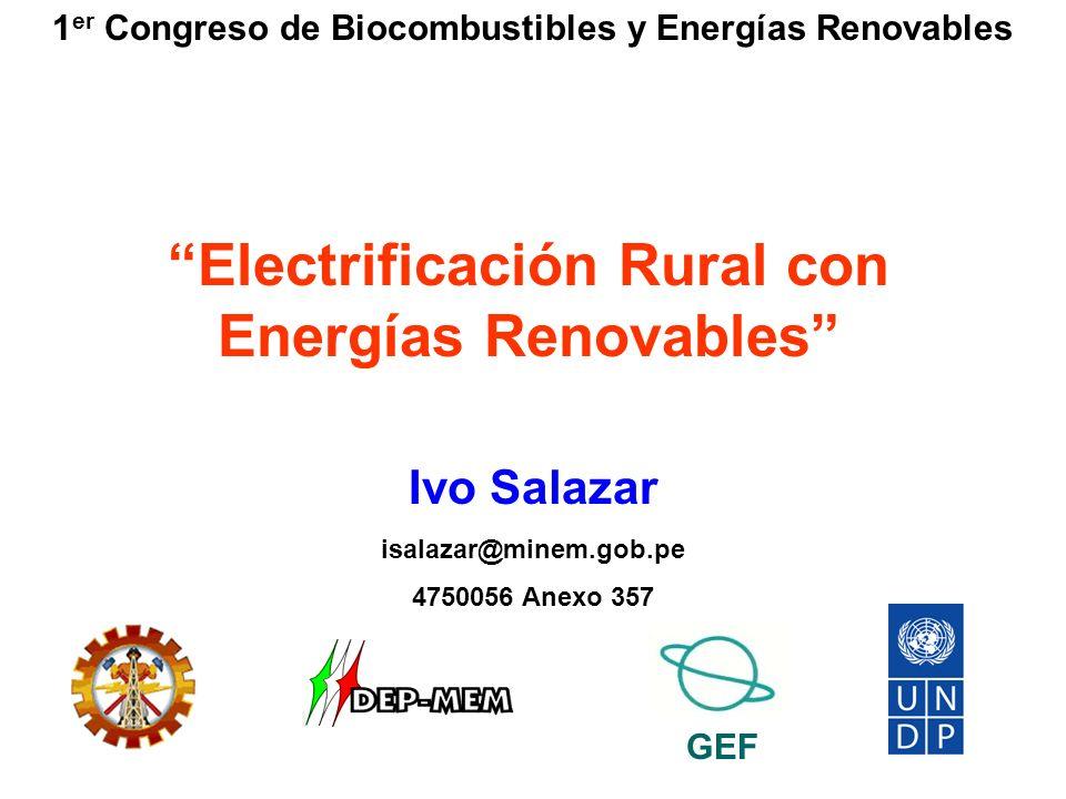 Proyecto PER/98/G31 Electrificación Rural a Base de Energía Fotovoltaica en el Perú Proyectos en Ejecución Electrificación Rural Fotovoltaica – II Etapa Implementación de 4524 SFV (4500 SFD y 24 SFC) Rehabilitación y Ampliación de SFD Implementación de 278 SFD Implementación de un Sistema Fotovoltaico Productivo Implementación de Sistemas Híbridos Eólicos- Fotovoltaicos Implementación de 20 Sistemas Híbridos Eólico- Fotovoltaico de 150 W Procedimiento para la Evaluación del Flujo Luminoso de Luminarias Compactas Implementación de 1 SFVP de 2 kW