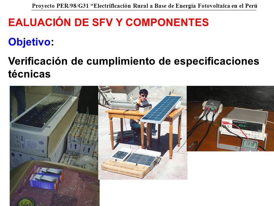 Proyecto PER/98/G31 Electrificación Rural a Base de Energía Fotovoltaica en el Perú EALUACIÓN DE SFV Y COMPONENTES Objetivo: Verificación de cumplimie