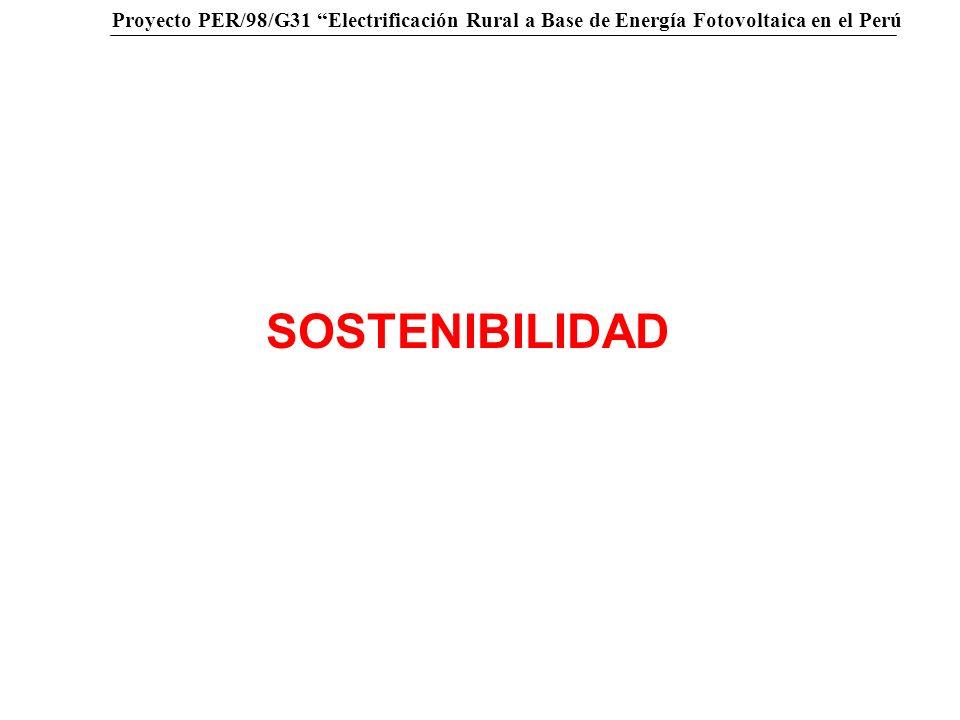 Proyecto PER/98/G31 Electrificación Rural a Base de Energía Fotovoltaica en el Perú …… Inversión inicial SFV, capacitación, mantenimiento, cobranza, entre otros Sostenibilidad Reposición de equipos, mantenimiento, cobranza, entre otros S/.