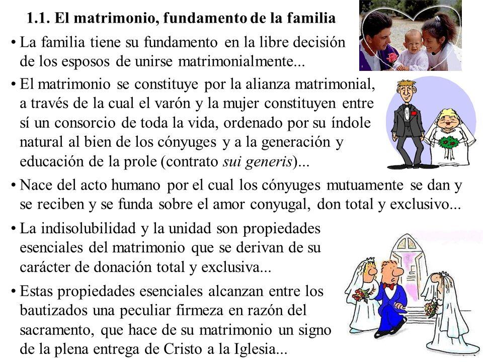 1.1. El matrimonio, fundamento de la familia La familia tiene su fundamento en la libre decisión de los esposos de unirse matrimonialmente... El matri