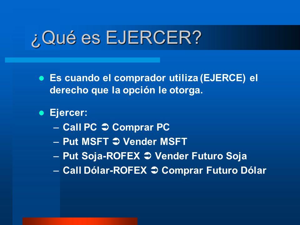 ¿Qué es EJERCER? Es cuando el comprador utiliza (EJERCE) el derecho que la opción le otorga. Ejercer: –Call PC Comprar PC –Put MSFT Vender MSFT –Put S