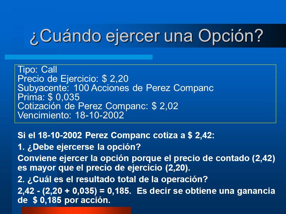 ¿Cuándo ejercer una Opción? Si el 18-10-2002 Perez Companc cotiza a $ 2,42: 1. ¿Debe ejercerse la opción? Conviene ejercer la opción porque el precio