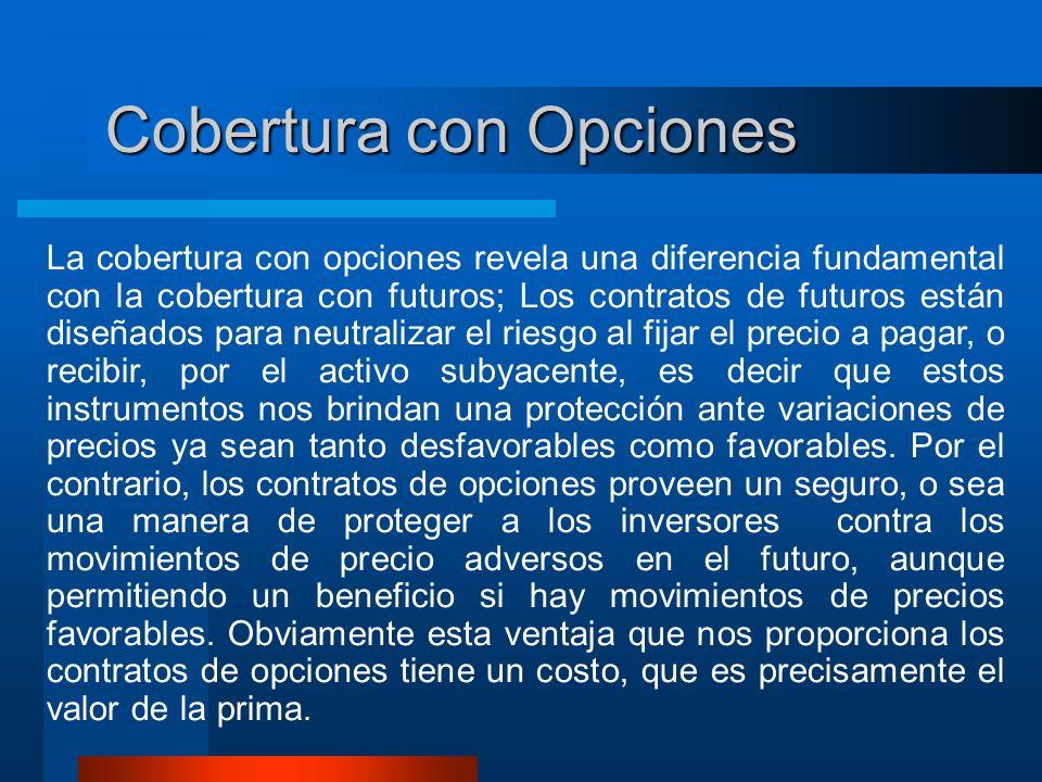 Cobertura con Opciones La cobertura con opciones revela una diferencia fundamental con la cobertura con futuros; Los contratos de futuros están diseña