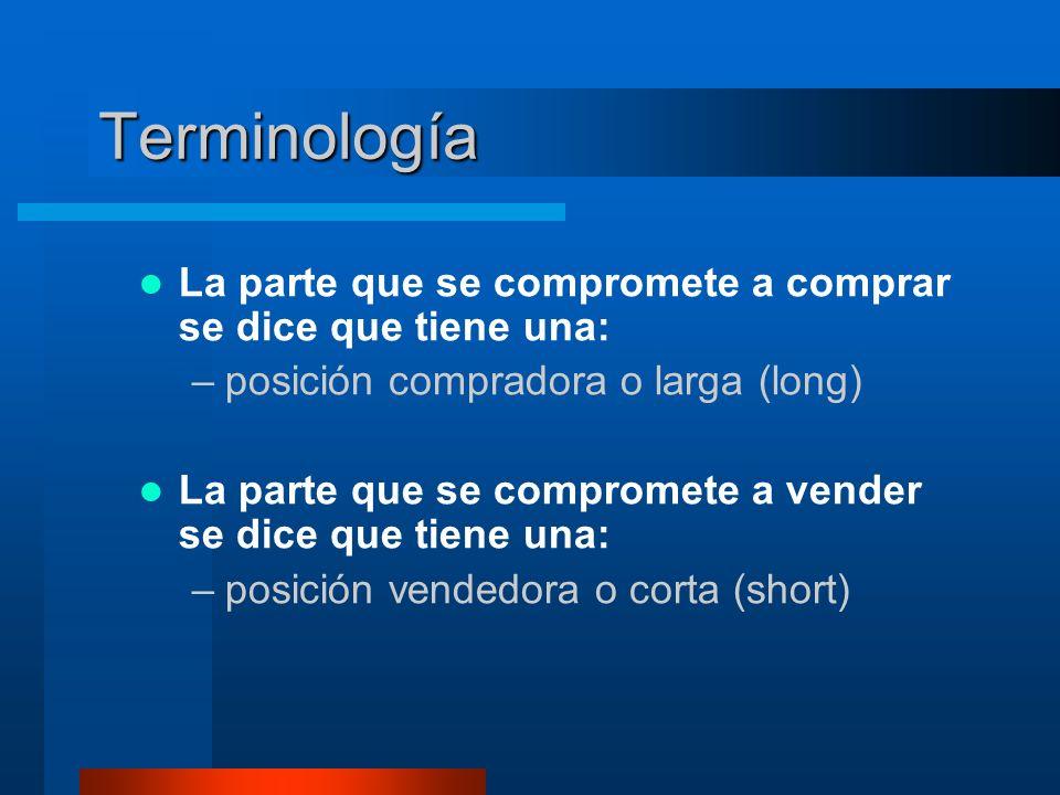Terminología La parte que se compromete a comprar se dice que tiene una: –posición compradora o larga (long) La parte que se compromete a vender se dice que tiene una: –posición vendedora o corta (short)