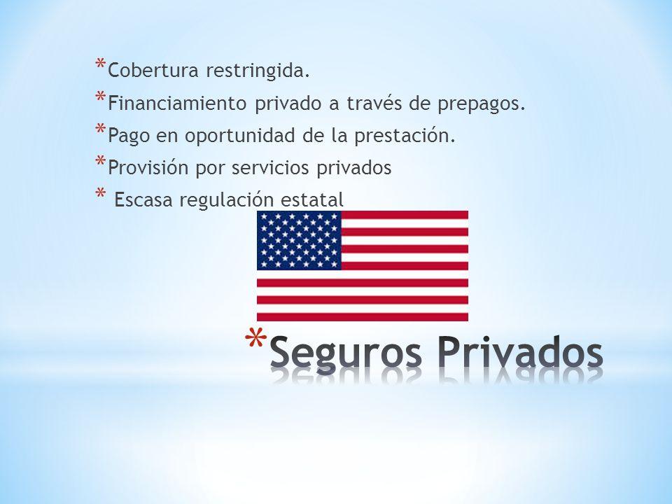 * Cobertura restringida. * Financiamiento privado a través de prepagos.