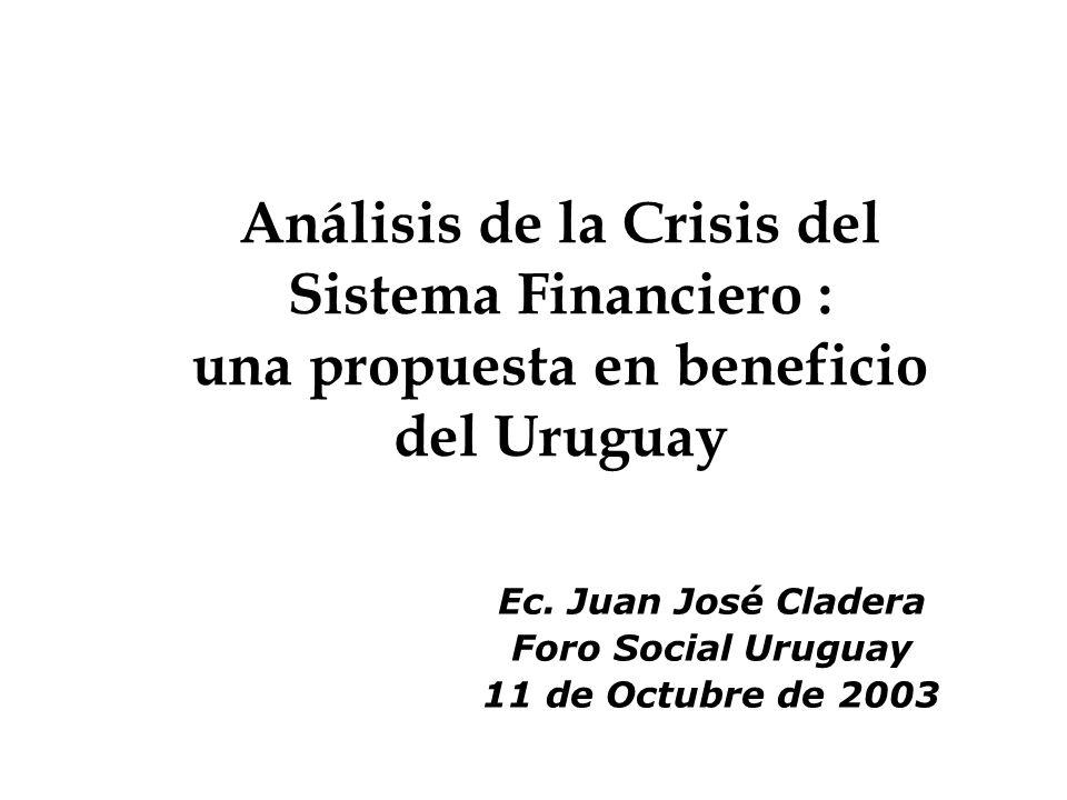 11 Las crisis bancarias anteriores Ù La resolución 1.Los depositantes pudieron acceder a un fondo de seguro de depósitos creado al finalizar la crisis, que se financió en su mayor parte por el Estado 2.La nueva Constitución de la República de 1967, al crear el Banco Central del Uruguay.