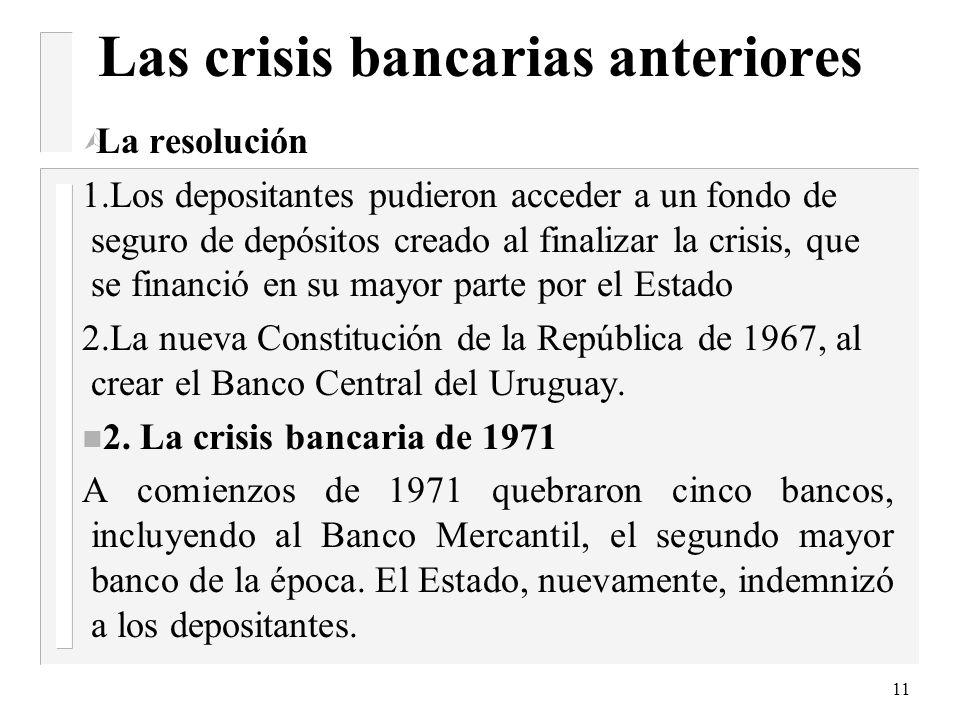 10 Las crisis bancarias anteriores El número de bancos privados pasó de 41 a 56 entre 1955 y 1964, el número de sucursales aumentó, en el mismo períod