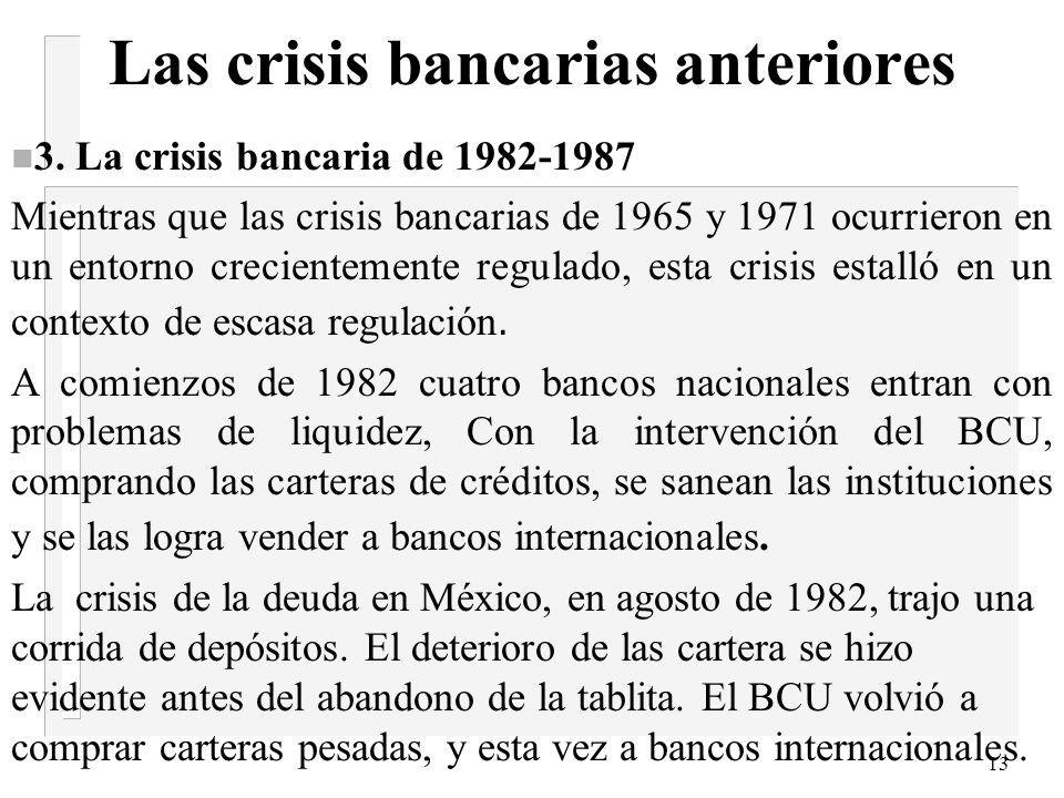 12 Las crisis bancarias anteriores liberalización financiera A la represión financiera devenida del 65,se contrapuso la liberalización financiera, de