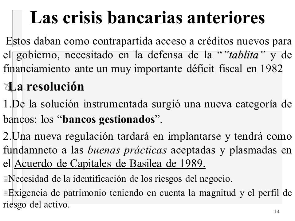 13 Las crisis bancarias anteriores n 3. La crisis bancaria de 1982-1987 Mientras que las crisis bancarias de 1965 y 1971 ocurrieron en un entorno crec