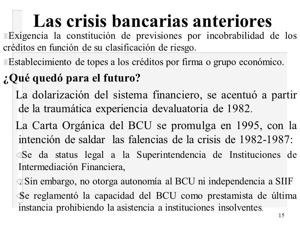 14 Las crisis bancarias anteriores tablita Estos daban como contrapartida acceso a créditos nuevos para el gobierno, necesitado en la defensa de la ta