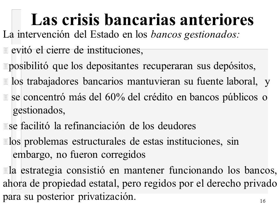 15 Las crisis bancarias anteriores 3 Exigencia la constitución de previsiones por incobrabilidad de los créditos en función de su clasificación de rie