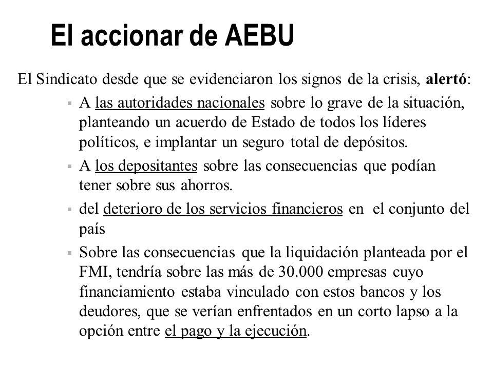 El accionar de AEBU Se convocó a la organización de los ahorristas Se propuso las vías y formas para la Reconversión del Sistema Financiero en el Parl