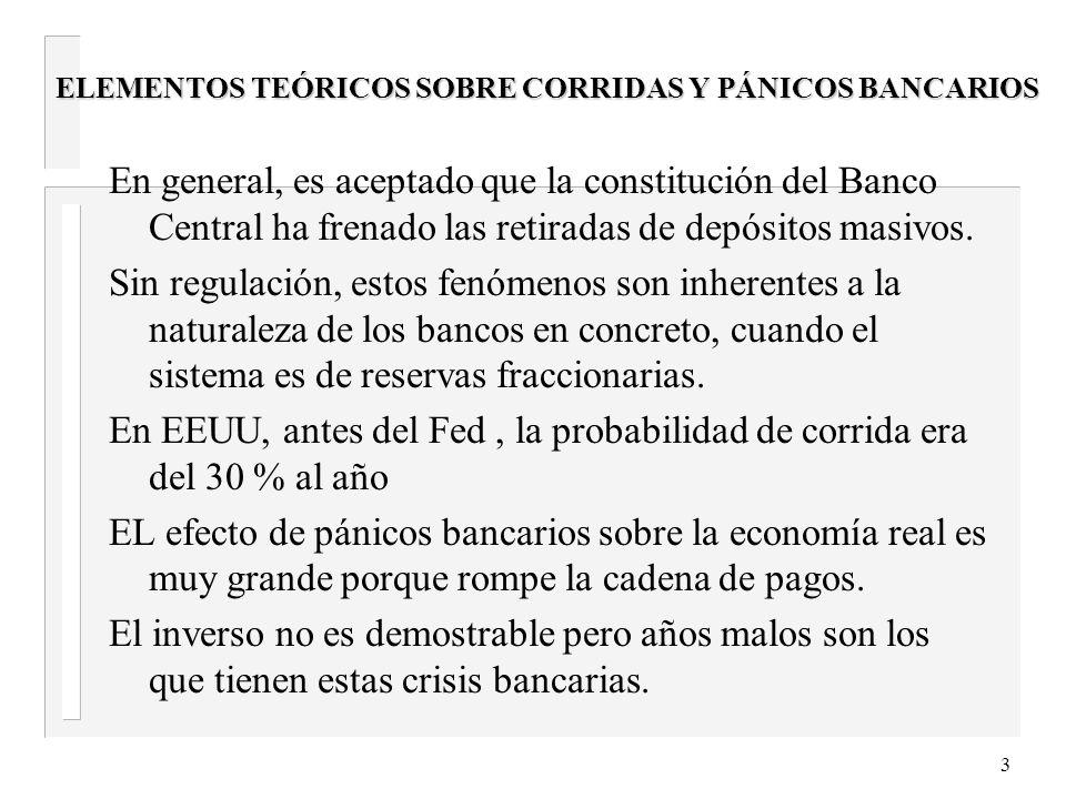 3 ELEMENTOS TEÓRICOS SOBRE CORRIDAS Y PÁNICOS BANCARIOS En general, es aceptado que la constitución del Banco Central ha frenado las retiradas de depósitos masivos.