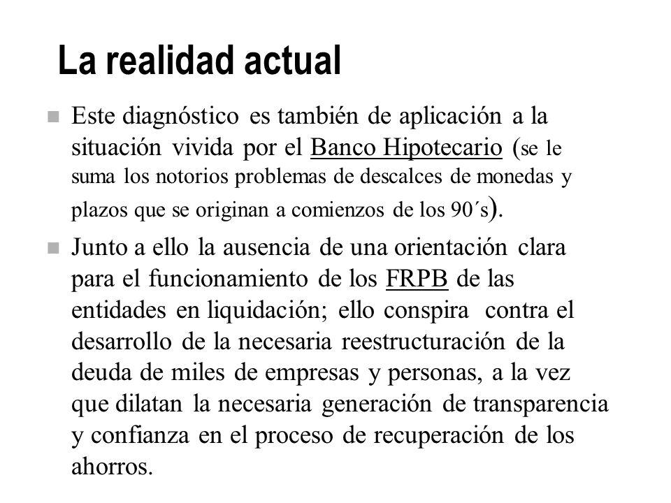 La realidad actual La reestructura en curso del sistema financiero, convive con un proceso de desintermediación financiera, El financiamiento se trasl