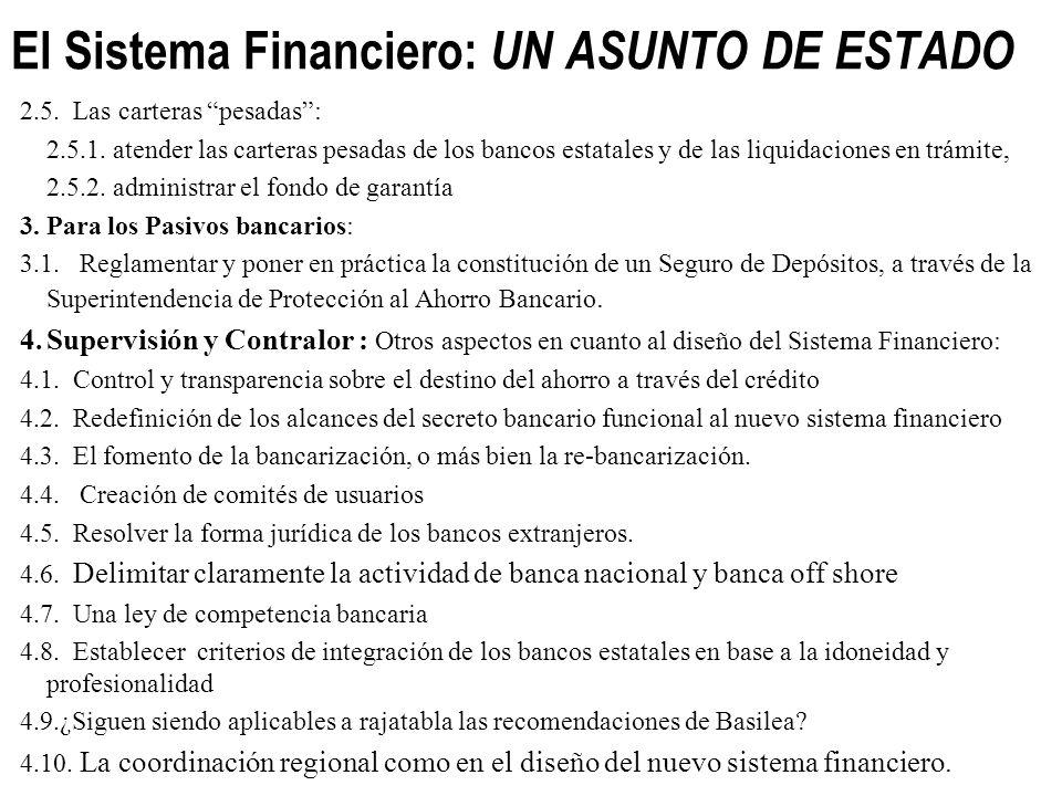 El Sistema Financiero: UN ASUNTO DE ESTADO Una agenda imprescindible a discutir para cambiar el sistema financiero: 1. Contenido Democrático 1.1. Los
