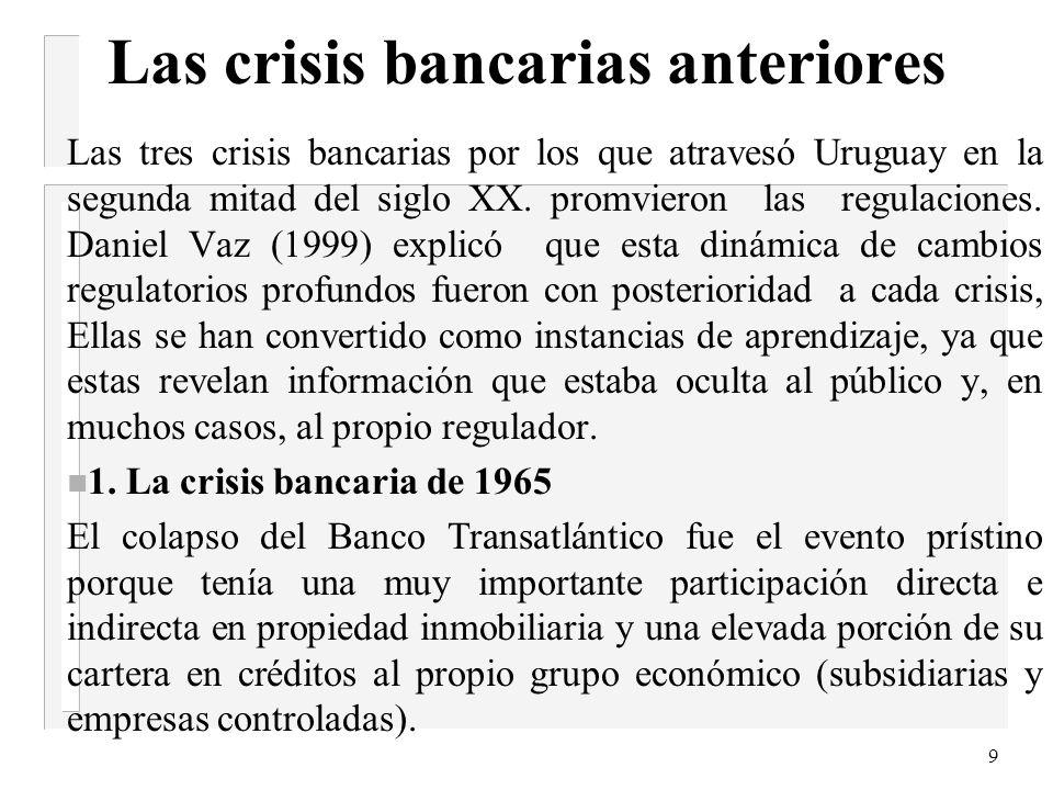 9 Las crisis bancarias anteriores Las tres crisis bancarias por los que atravesó Uruguay en la segunda mitad del siglo XX.