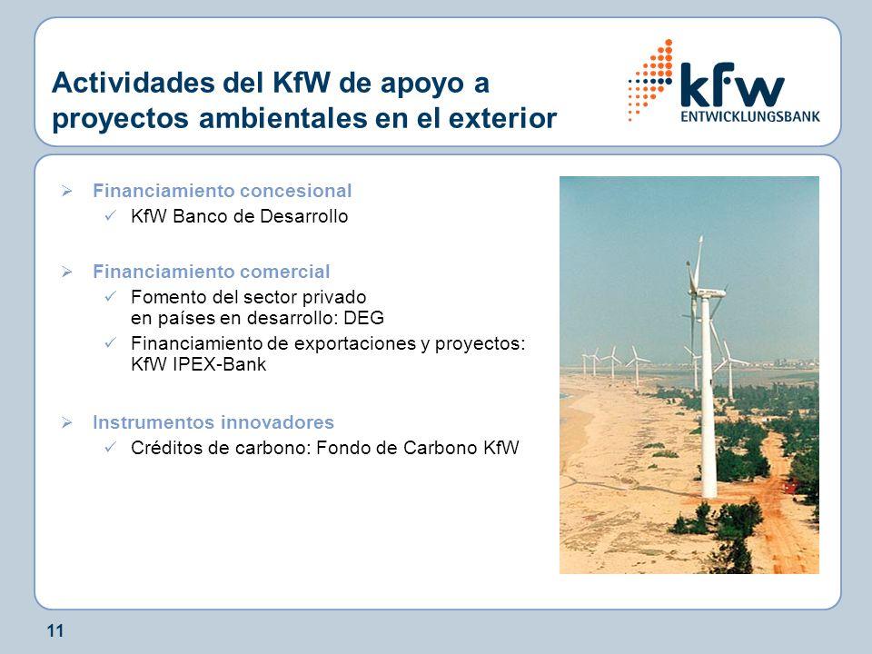 11 Actividades del KfW de apoyo a proyectos ambientales en el exterior Financiamiento concesional KfW Banco de Desarrollo Financiamiento comercial Fomento del sector privado en países en desarrollo: DEG Financiamiento de exportaciones y proyectos: KfW IPEX-Bank Instrumentos innovadores Créditos de carbono: Fondo de Carbono KfW