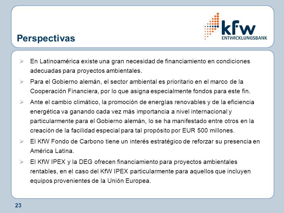 23 Perspectivas En Latinoamérica existe una gran necesidad de financiamiento en condiciones adecuadas para proyectos ambientales.