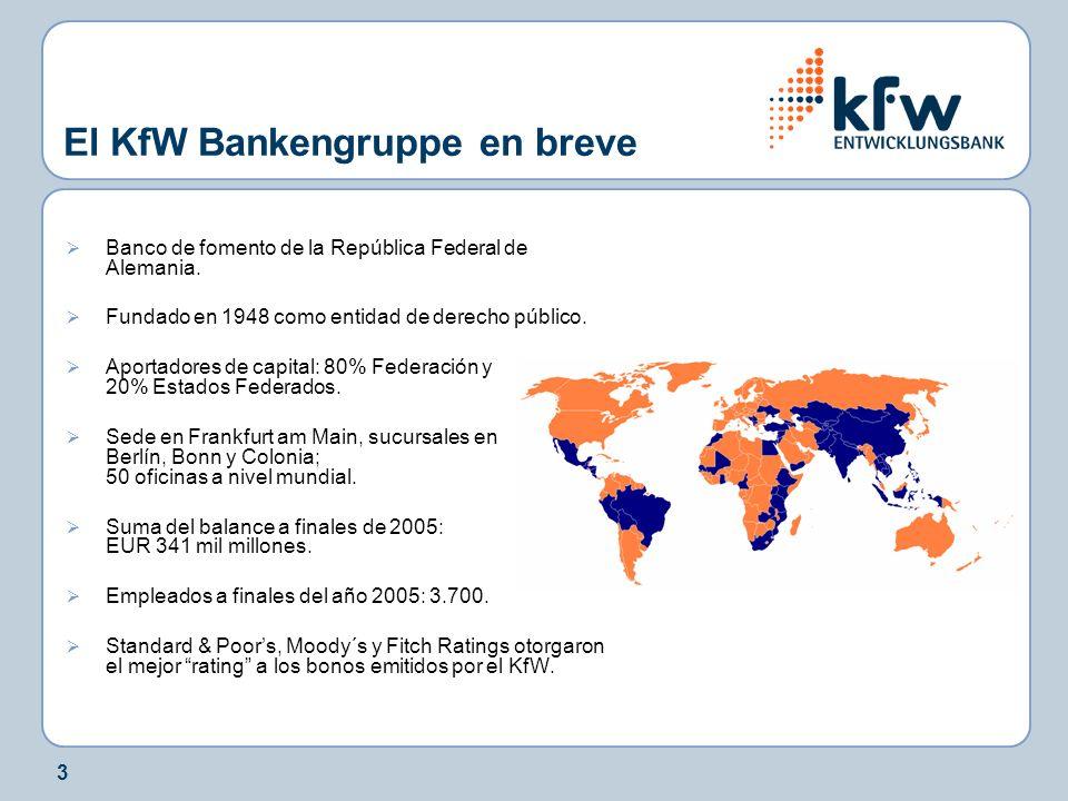 4 Fomento de las PYMEs, de los fundadores de empresas y de start- ups en Alemania KfW Mittelstandsbank (banco PYME KfW) Fomento del sector de la vivienda, protección del medio ambiente y del clima, educación, infraestructura y asuntos sociales KfW Förderbank (banco de fomento KfW) Fomento de los países en desarrollo y en transición sector público KfW Entwicklungsbank (banco de desarrollo KfW) Financiación de exportaciones y de proyectos (project finance) Suministros alemanes y europeos KfW IPEX-Bank Fomento de los países en desarrollo y en transición sector privado DEG – Sociedad alemana para la Inversión y el Desarrollo KfW Bankengruppe Estructura de marcas.