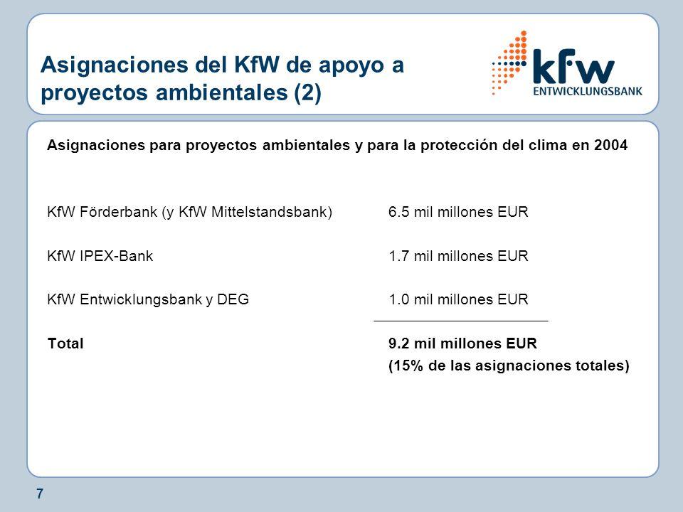 7 Asignaciones del KfW de apoyo a proyectos ambientales (2) Asignaciones para proyectos ambientales y para la protección del clima en 2004 KfW Förderbank (y KfW Mittelstandsbank)6.5 mil millones EUR KfW IPEX-Bank1.7 mil millones EUR KfW Entwicklungsbank y DEG1.0 mil millones EUR Total9.2 mil millones EUR (15% de las asignaciones totales)