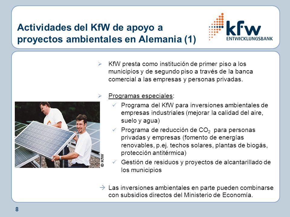 19 Actividades del KfW de apoyo a proyectos ambientales en el exterior: Fondo de Carbono KfW (2) Participante 1 KfW Cartera de proyectos (Fondo de Carbono KfW) Proyecto n Proyecto 3 Proyecto 2 Proyecto 1 Participante 2 Participante 3 Participante x ACRE/ERPAACRE/ERPA Contratos de Agencia