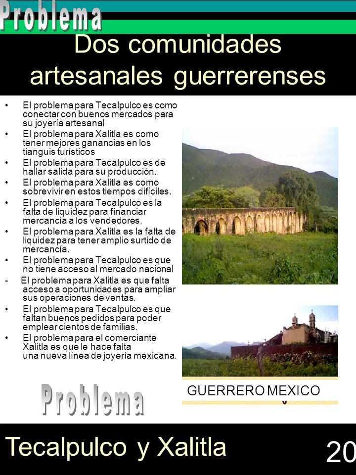 Dos comunidades artesanales guerrerenses El problema para Tecalpulco es como conectar con buenos mercados para su joyería artesanal El problema para X