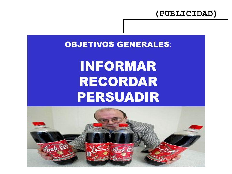 (PUBLICIDAD) OBJETIVOS GENERALES : INFORMAR RECORDAR PERSUADIR