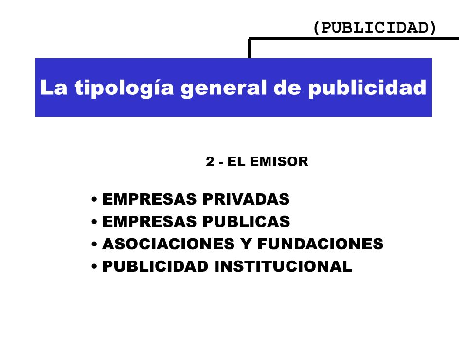 (PUBLICIDAD) Importancia de la publicidad La tipología general de publicidad 2 - EL EMISOR EMPRESAS PRIVADAS EMPRESAS PUBLICAS ASOCIACIONES Y FUNDACIO