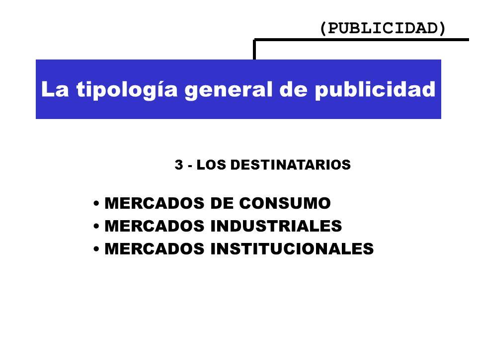 (PUBLICIDAD) Importancia de la publicidad La tipología general de publicidad 3 - LOS DESTINATARIOS MERCADOS DE CONSUMO MERCADOS INDUSTRIALES MERCADOS