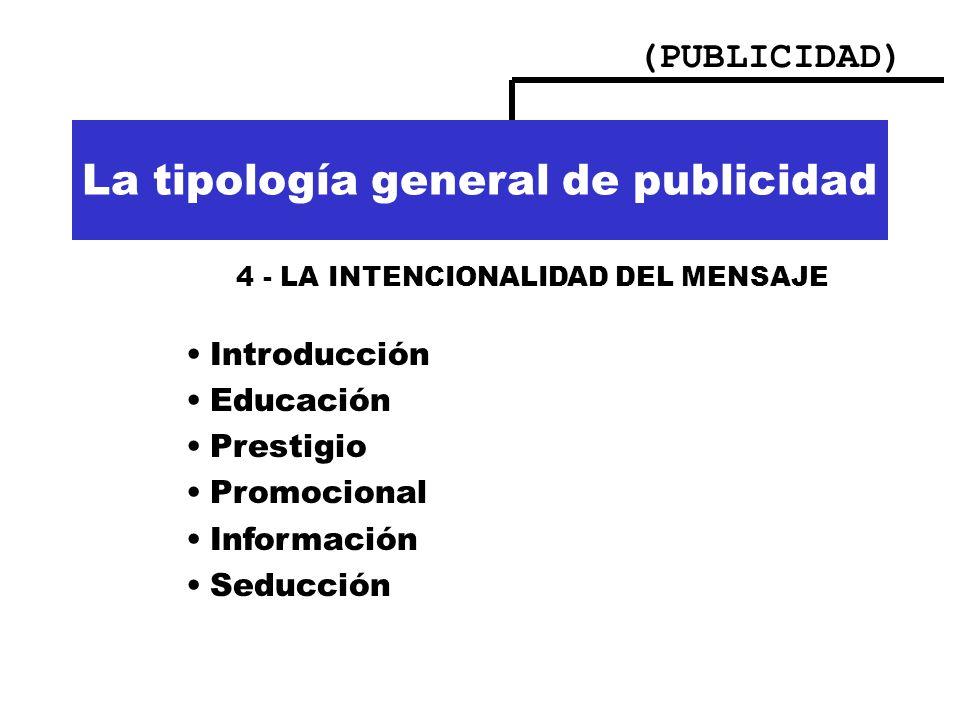 (PUBLICIDAD) Importancia de la publicidad La tipología general de publicidad 4 - LA INTENCIONALIDAD DEL MENSAJE Introducción Educación Prestigio Promo