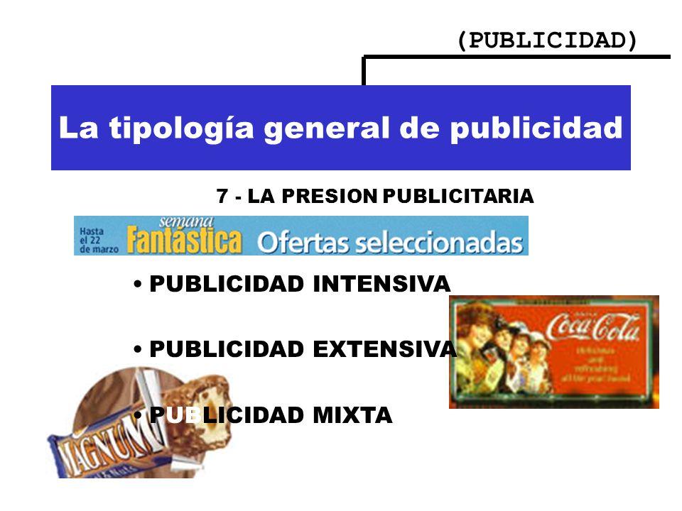 (PUBLICIDAD) Importancia de la publicidad La tipología general de publicidad 7 - LA PRESION PUBLICITARIA PUBLICIDAD INTENSIVA PUBLICIDAD EXTENSIVA PUB