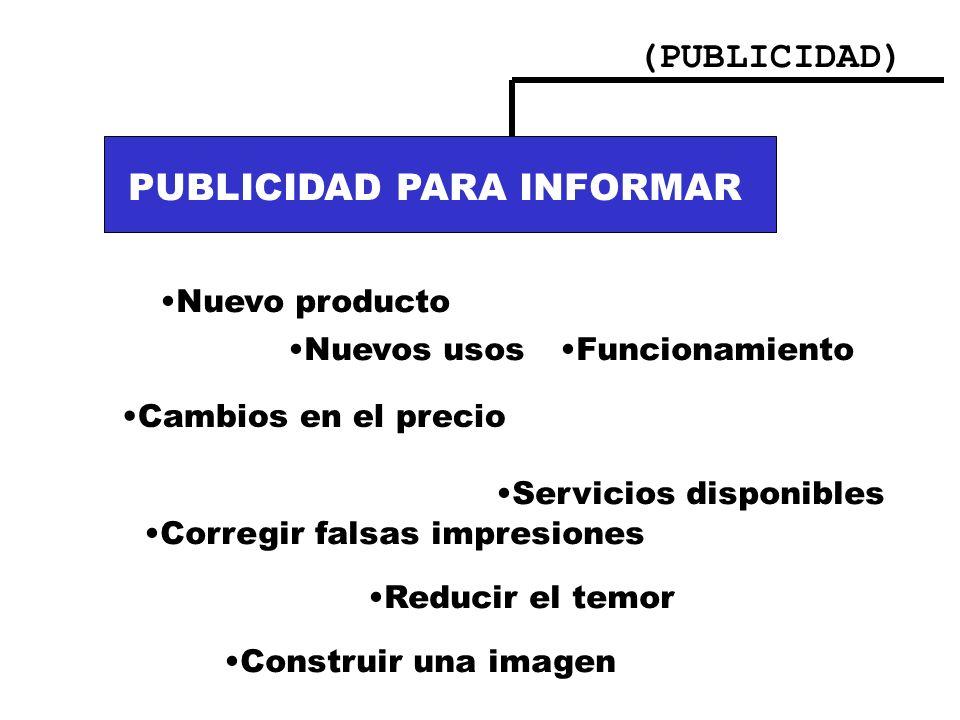 (PUBLICIDAD) PUBLICIDAD PARA INFORMAR:. Nuevos usos Cambios en el precio Funcionamiento del producto PUBLICIDAD PARA INFORMAR Nuevo producto Nuevos us