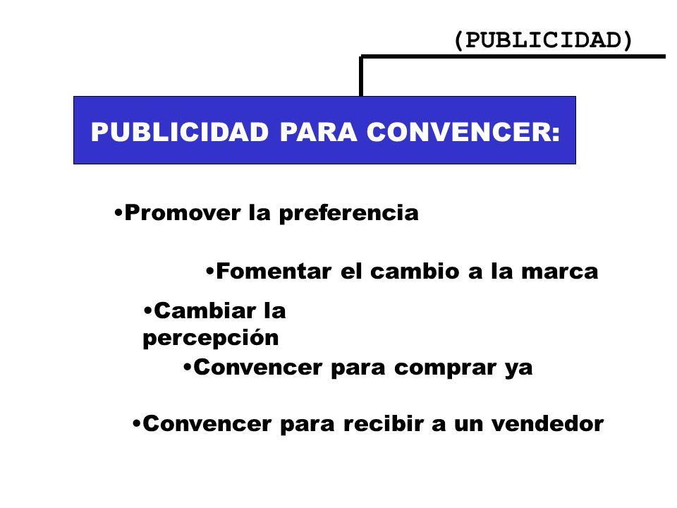 (PUBLICIDAD) PUBLICIDAD PARA INFORMAR:. Nuevos usos Cambios en el precio Funcionamiento del producto PUBLICIDAD PARA CONVENCER: Promover la preferenci