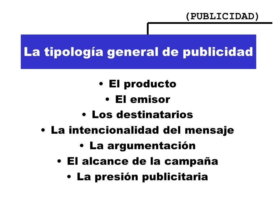 (PUBLICIDAD) Importancia de la publicidad La tipología general de publicidad El producto El emisor Los destinatarios La intencionalidad del mensaje La