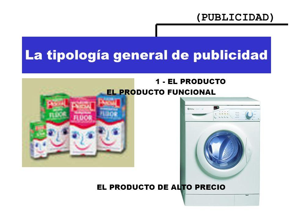 (PUBLICIDAD) Importancia de la publicidad La tipología general de publicidad 1 - EL PRODUCTO EL PRODUCTO FUNCIONAL EL PRODUCTO DE ALTO PRECIO