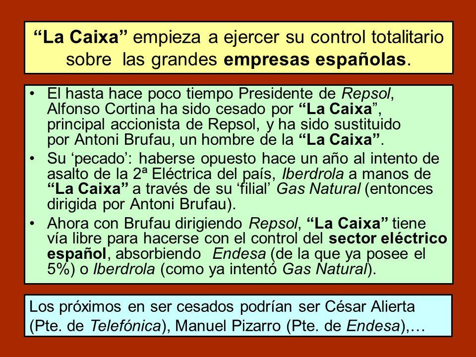 El hasta hace poco tiempo Presidente de Repsol, Alfonso Cortina ha sido cesado por La Caixa, principal accionista de Repsol, y ha sido sustituido por Antoni Brufau, un hombre de la La Caixa.