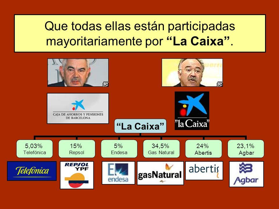 Que todas ellas están participadas mayoritariamente por La Caixa. La Caixa 5,03% Telefónica 15% Repsol 5% Endesa 34,5% Gas Natural 24% Abertis 23,1% A