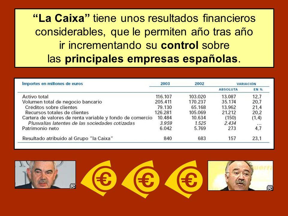 La Caixa tiene unos resultados financieros considerables, que le permiten año tras año ir incrementando su control sobre las principales empresas españolas.