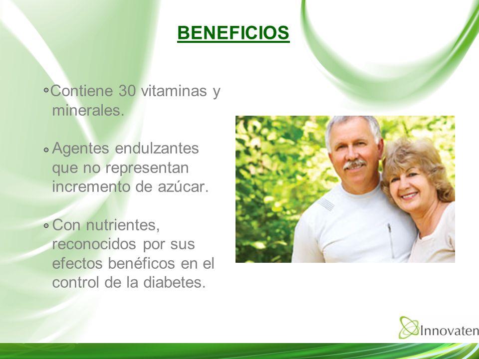 Contiene 30 vitaminas y minerales. Agentes endulzantes que no representan incremento de azúcar. Con nutrientes, reconocidos por sus efectos benéficos