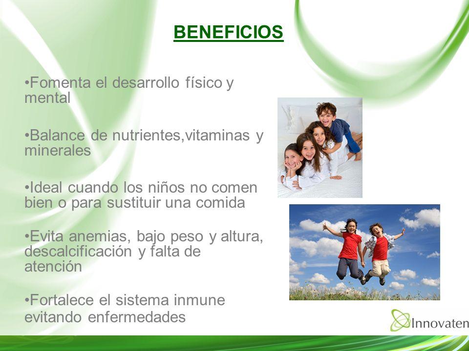 BENEFICIOS Fomenta el desarrollo físico y mental Balance de nutrientes,vitaminas y minerales Ideal cuando los niños no comen bien o para sustituir una
