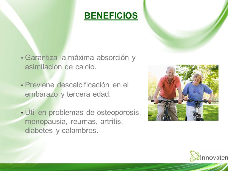 Garantiza la máxima absorción y asimilación de calcio. Previene descalcificación en el embarazo y tercera edad. Útil en problemas de osteoporosis, men