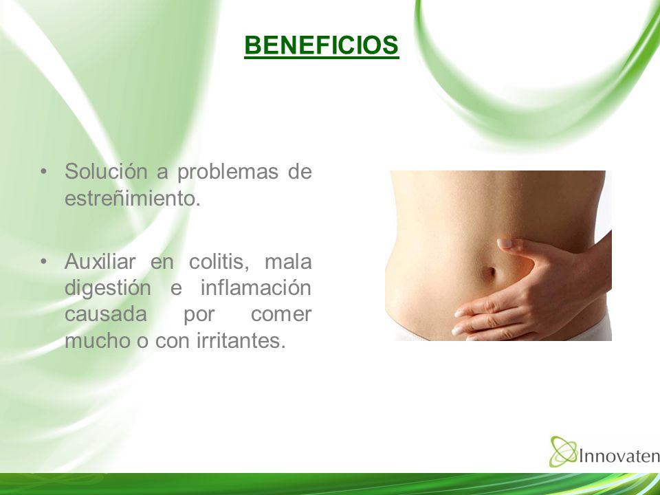 Solución a problemas de estreñimiento. Auxiliar en colitis, mala digestión e inflamación causada por comer mucho o con irritantes. BENEFICIOS