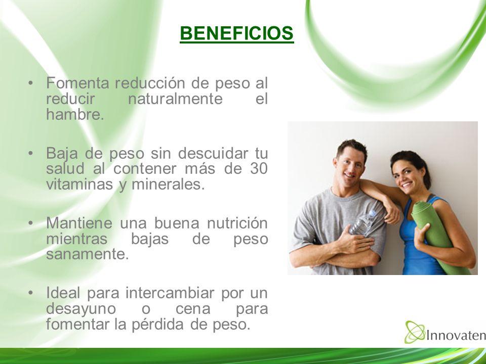Fomenta reducción de peso al reducir naturalmente el hambre. Baja de peso sin descuidar tu salud al contener más de 30 vitaminas y minerales. Mantiene