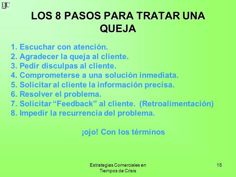 Estrategias Comerciales en Tiempos de Crisis 15 LOS 8 PASOS PARA TRATAR UNA QUEJA 1.Escuchar con atención.