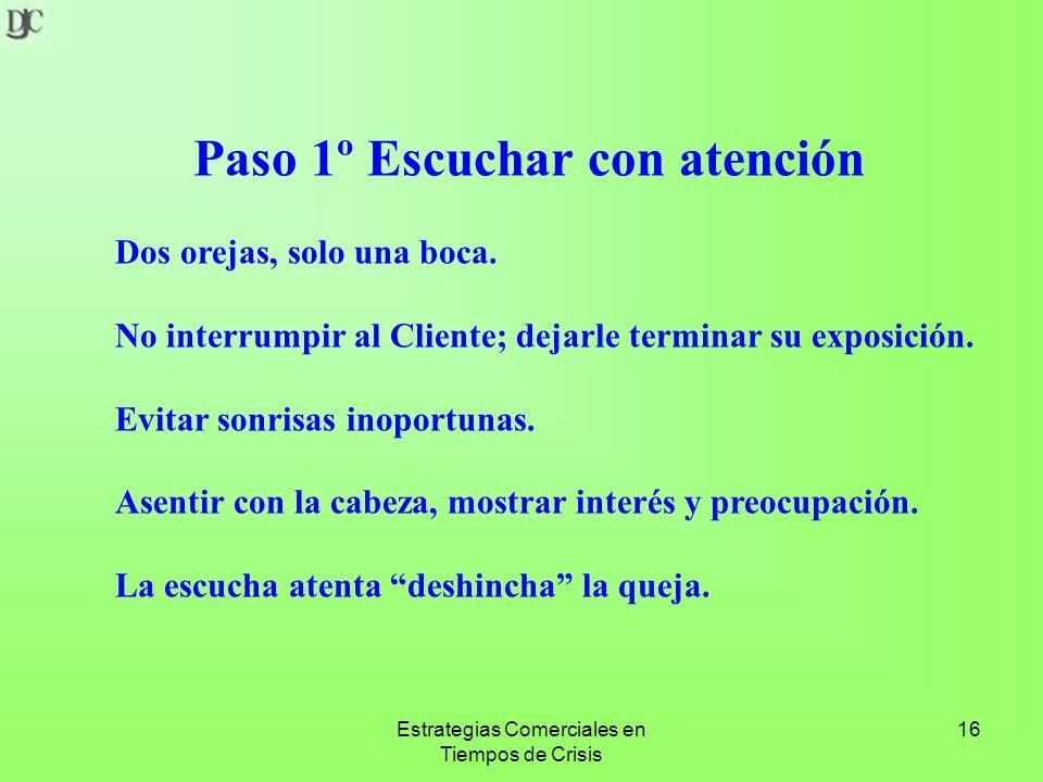 Estrategias Comerciales en Tiempos de Crisis 16 Paso 1º Escuchar con atención Dos orejas, solo una boca.