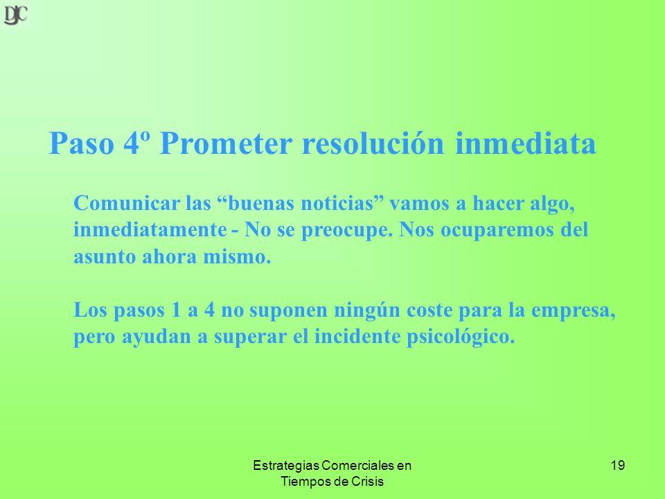 Estrategias Comerciales en Tiempos de Crisis 19 Paso 4º Prometer resolución inmediata Comunicar las buenas noticias vamos a hacer algo, inmediatamente - No se preocupe.
